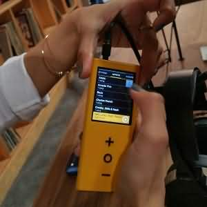 The Audeze booth utilized Pono Players for demo